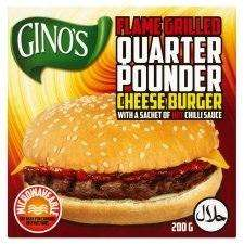 Flame-grilled quarter pounder cheese burger with a sachet of hot chilli sauce (halal) @ Tesco