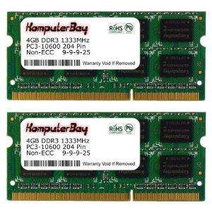 Komputerbay 8GB (2x 4GB) DDR3 SODIMM (204 pin) 1333Mhz PC3 10600 8 GB Laptop Memory £23.00 Sold by KOMPBAY and Fulfilled by Amazon