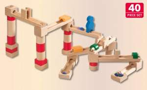 Wooden Marble Run - 40 Piece Set Lidl