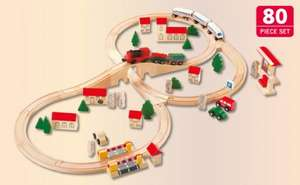 Wooden Railway - 80 Piece Set  £19.99 Instore @ Lidl from Thursday 6th Dec