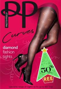 Half price 'curves' dot diamond tights - TODAY only £6.95 @ Pretty Polly