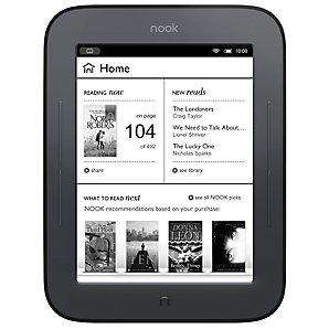 NOOK® Simple Touch eReader - No free voucher but  2 Year guarantee included + Free home delivery - £59 @ John Lewis