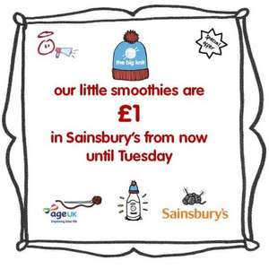 Little Innocent Smoothies only £1 instore at Sainsbury's with little Big Knit hats, plus, for every one sold 25p goes to Age UK