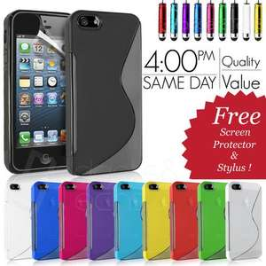 GRIP S-LINE WAVE SILICONE GEL CASE FITS APPLE IPHONE 5 FREE SCREEN PROTECTOR  99p delivered @ gadgetsntechs/ebay