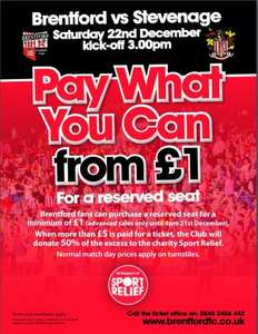 Brentford FC v Stevenage FC - PAY WHAT YOU WANT. Sat Dec 22 - real football