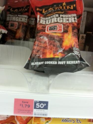 4 Frozen Flaming' Quarter Pounder Burgers 50p from £2.29 @ Sainsburys