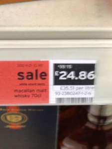 Macallan 10 Year Old Malt Whisky WAS £33.15 NOW £24.86 @ Sainsburys (INSTORE)