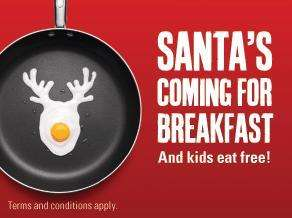 Beefeater Breakfast - 2 kids eat free per adult + free trip to santa each