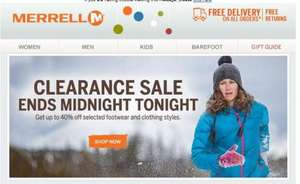 40% off @ selected footwear and clothing + free delivery @ Merrell