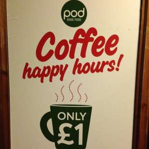 POD-'good food' £1.00 coffees during coffee happy hours-LONDON only