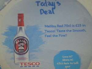 Malibu Red 70cl in Tesco £15 at Tesco