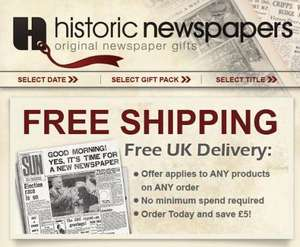 Historic Newspapers: Free Delivery & 10% Off & Free Victorian Newspaper from £31.50