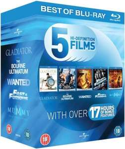 Blu-Ray Starter Pack: Gladiator / The Bourne Ultimatum / Wanted / Fast and Furious / The Mummy: Tomb of the Dragon Emperor Blu-ray £9.86 @ Zavvi (Use code  BST12)