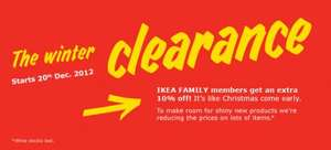 IKEA Clearance Sale Starts 20 Dec - Family members get an extra 10% off @IKEA