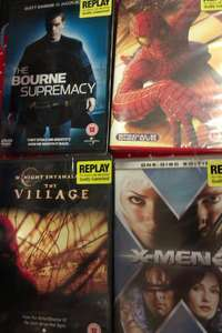 Matrix 1,2,3,Spider-man 1,2,3,Bourne Identity 1,2,3,Fast and the Furious 1,2,3,X-Men 1,2,3,Blade 1,2,3,The Village,XXX,The Mummy,Will and Grace season 1,2,3 and many more only £1 per Movie(Replay)at Poundland