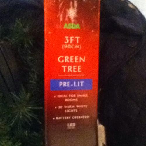 Asda pre-lit 3ft Christmas tree £1