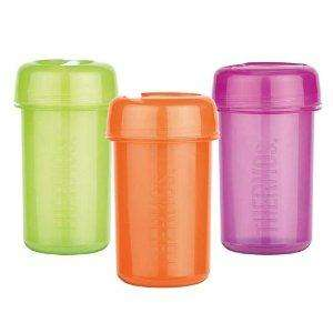Thermos brand snack/drinks pots - flip top that can be screwed off. @Boyes