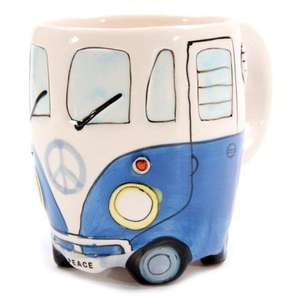 Shaped Volkswagen camper van mug, hand painted blue £5.75 delivered @ Amazon