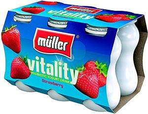 Muller vitality probiotic yogurt drink. peach flavour. 2 for 99p in 99p land