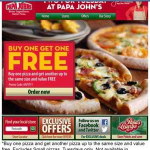 BOGOF pizza @ Papa Johns