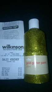 Wilko Glitter Paint Gold or Red 250ml for £1 in store @ Wilkinson