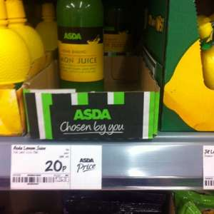 250ml bottle of lemon juice 20p at asda for £0.20 @ Asda Supermarket