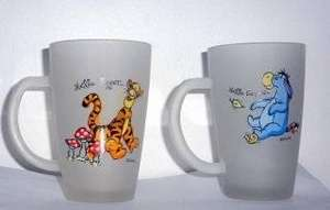 £1  Each Frosted Glass Mugs With Handle, Tigger Eeyore Winnie the Pooh- In Store Poundland