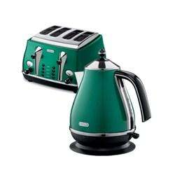 De Longhi Icona Kettle and 4 Slice Toaster in Green @ Appliancesdirect