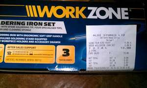 30w Workzone soldering iron set at Aldi. Sticker price £6.99, scanned at just £3.99!!