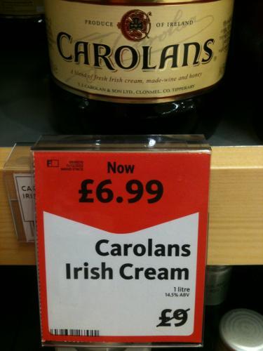 Morrisons - Carolans Irish Cream 1 litre Bottle £6.99
