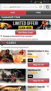 Gameloft Selection Games on mobile BOGOF or 3 for £2.50