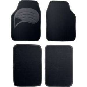 Set of 4 Carpet Car Mats with Non-Slip Backing - Black@Argos