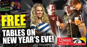 Free pool and snooker after 6pm new years eve at Rileys