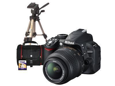 Nikon D3100 DSLR - Bundle includes 18-55mm VR Lens, Case, Tripod, 8GB SD Card & Adobe Lightroom 4 - Potentially £311 after Quidco and Nikon cashback - dabs.com