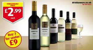Aldi have a range of wines for £2.99 per bottle - ideal for the New Year, 3 bottles for less than £9