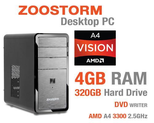Zoostorm Desktop PC, AMD A4 3300 2.5GHz, 4GB RAM, 320GB HDD, DVDRW, AMD HD6410D £129.99 @ Ebay/Ebuyer