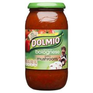 Dolmio EXTRA mushroom sauce, maybe others. FAMILY size 50p @ Co-op instore