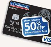 Nationwide Credit Card - 0% on balance transfers for 20 months - 1.55% Fee + £25 Quidco