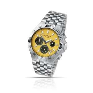 Sekonda Men's Quartz Watch with Yellow Dial Chronograph Display and Silver Stainless Steel Bracelet @ Amazon