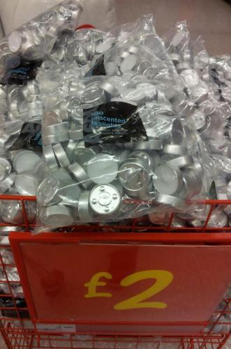 100 tea light candles £2 at Asda