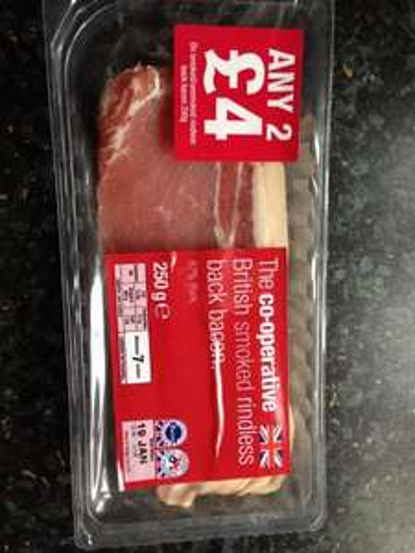 Back bacon 250g £1.00 @ Co-op