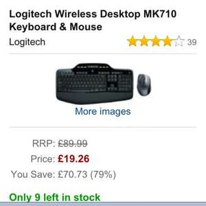 Logitech MK 710 Wireless keyboard and mouse £19.25 instead of £90 on amazon marketplace (mpodo)