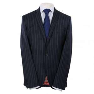 Gibson London Mens Navy Wool Cashmere Flannel Pinstripe Suit £149.49 Save 50% @ psyche.co.uk