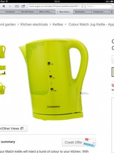Argos Colour Match Jug Kettle - Apple Green.  £6.99