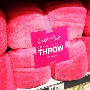 Super Soft Coral Fleece Throws Red, Pink, Navy and Cream Only £5.99 @ Home Bargains