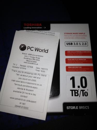 "Toshiba 1TB 2.5"" USB 3 portable hard drive PC World / Currys £49.99 + Quidco"