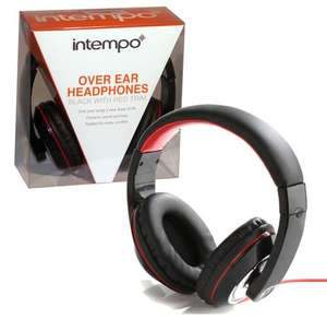 INTEMPO BLACK RED OVER EAR PADDED HEADPHONES GOLD PLATED 3.5mm JACK STUDIO BASS - ALSO WHITE RED AVAILABLE - £9.99 @ eBay - guaranteed4less