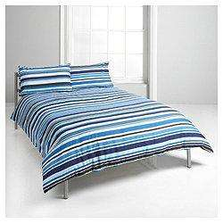 Tesco King Size Stripe Print Duvet Cover Set, Blue - Blue, King £10.97 Click & Collect for free