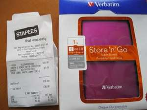 1TB Verbatim External Hard Drive £35.60 at closing down Staples
