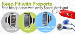 Proporta free headphones with every Sports Armband for iPhone, iPod & smartphones